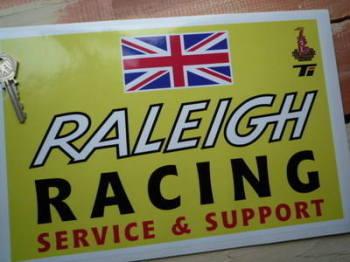 "Raleigh Racing Service & Support Oblong Sticker. 12""."