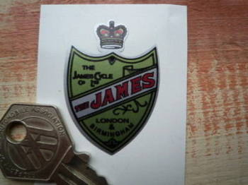 "James Shield Shaped Sticker. 1""."