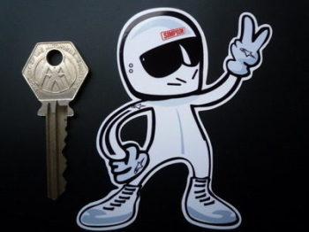 "Stig Driver 2 Fingered Salute Sticker. 3.5""."