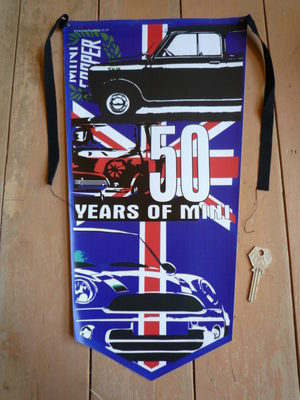Mini 50 Years Of Mini Banner Pennant.