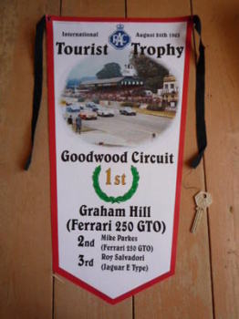 Goodwood Circuit RAC Tourist Trophy Graham Hill & Ferrari 1st Banner Pennant.