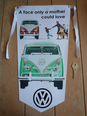 VW Camper Van A Face Only A Mother Could Love Banner Pennant