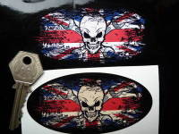 Skull & Cross Spanner Union Jack Fade To Black Oval Sticker. 3