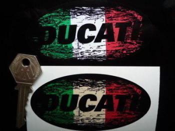 """Ducati Tricola Fade To Black Oval Sticker. 3"""", 4"""", 6"""" or 8""""."""
