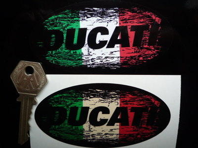 Ducati Tricola Fade To Black Oval Sticker. 3