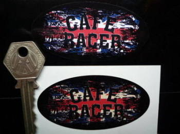 "Cafe Racer Oval Union Jack Fade To Black Sticker. 3"", 4"", 6"" or 8""."
