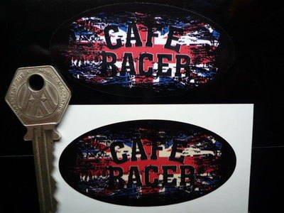 Cafe Racer Oval Union Jack Fade To Black Sticker. 3