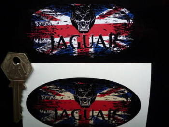 "Jaguar Growler Union Jack Fade To Black Oval Sticker. 3"", 4"", 6"" or 8""."