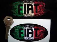 """Fiat Tricolore Fade To Black Oval Sticker. 3"""", 4"""", 6"""" or 8""""."""
