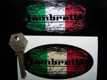 """Lambretta Tricolore Fade To Black Oval Sticker. 3"""", 4"""", 6"""" or 8""""."""