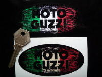 Moto Guzzi Oval Tricolore Fade To Black Sticker. 3