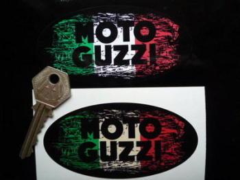 """Moto Guzzi Oval Tricolore Fade To Black Sticker. 3"""", 4"""", 6"""" or 8""""."""