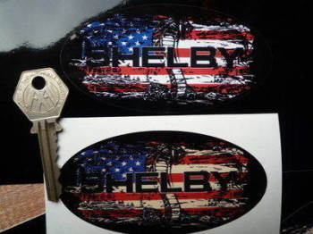 "Shelby Stars & Stripes Fade To Black Oval Sticker. 3"", 4"", 6"" or 8""."