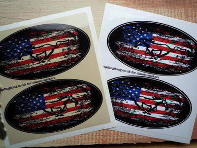 """Mustang Fade To Black Oval Stickers. 4"""" Pair."""
