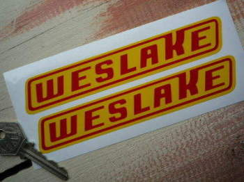 "Weslake Red & Yellow Slanted Oblong Stickers. 6"" Pair."