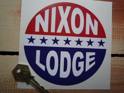 """Nixon Lodge Presidential Campaign Sticker. 5""""."""