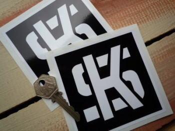 "KS Pistons Black & White Square Stickers. 4"" or 8"" Pair."