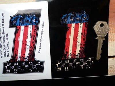 "USA Stars & Stripes No '1' Fade To Black Sticker. 4""."