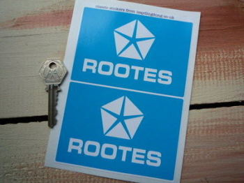 "Rootes Chrysler Blue & White Sticker. 4"" Pair."