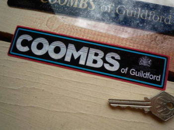 "Coombs of Guildford White, Black, Blue & Red Sticker. 6.5""."