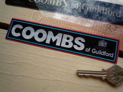 """Coombs of Guildford White, Black, Blue & Red Sticker. 6.5""""."""