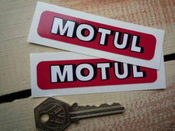 "Motul Shaded Text Oblong Stickers. 3.5"" Pair."