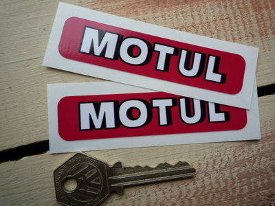 "Motul Shaded Text Oblong Stickers. 3.5"" Pair."