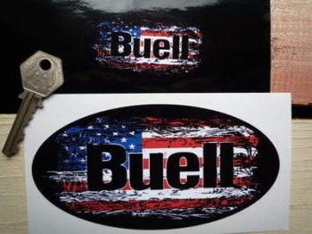 "Buell Stars & Stripes Fade To Black Oval Sticker. 3"", 4"", 6"" or 8""."