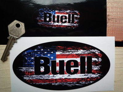 Buell Stars & Stripes Fade To Black Oval Sticker. 3