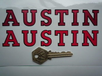 "Austin Red & Black Cut Text Sticker. 6""."