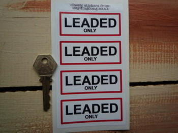 "Leaded Only Petrol Fuel Cap Filler Stickers. 3"" Set of 4."