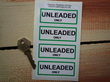 "Unleaded Only Petrol Fuel Cap Filler Stickers. 3"" Set of 4."