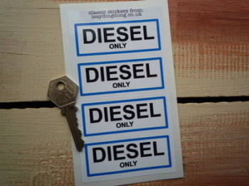 "Diesel Only Fuel Cap Filler Stickers. 3"". Set of 4."