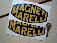 Magneti Marelli Black & Yellow Blunted Oval Stickers. 4