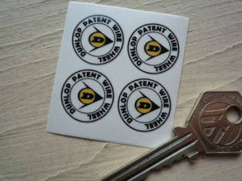 "Dunlop Patent Wire Wheel Stickers. Set of 4. 0.75""."