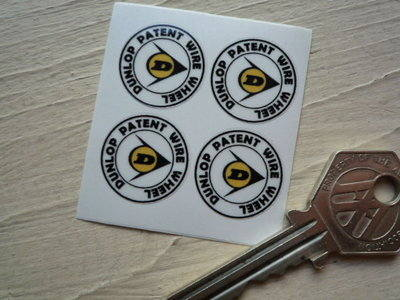 Dunlop Patent Wire Wheel Stickers. Set of 4. 0.75
