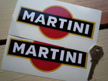 "Martini Logo Stickers. Black With Gold Line. 3.25"", 4"", 5"" or 6"" Pair."