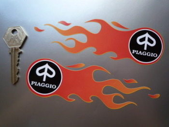 "Piaggio Flames Handed Stickers. 5.5"" Pair."