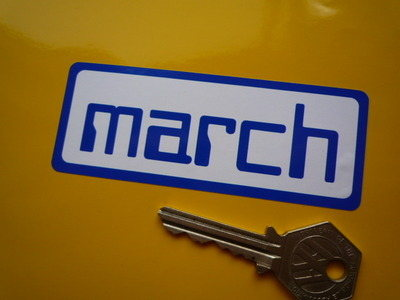"""March Engineering Blue & White Oblong Sticker. 4""""."""
