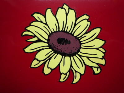 "Sunflower Shaped Flower Stickers. 3"" or 4"" Pair."