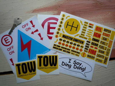Race Car Switch Dashboard Tow Stickers Pack.