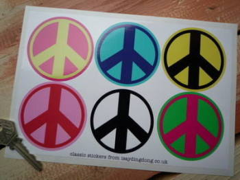 "Ban The Bomb Peace Coloured Stickers. Set of 6. 2.5""."