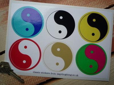"""Yin Yang Zen Coloured Stickers. Set of 6. 2.5""""."""