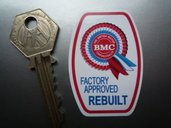 "BMC Factory Approved Rebuilt Components Sticker. 2""."