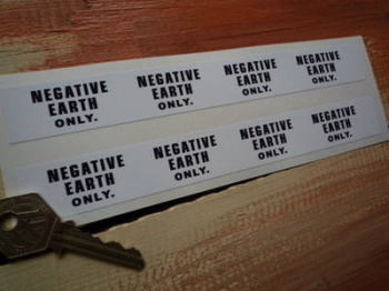"Negative Earth Only Pump Style Stickers. 7.5"" Pair."