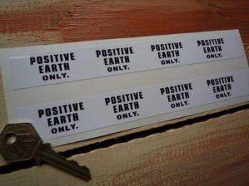 "Positive Earth Only Pump Style Stickers. 7.5"" Pair."
