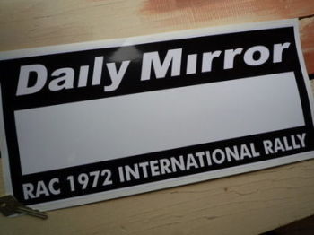 "Daily Mirror RAC Rally 1972 Plate Sticker. 17""."