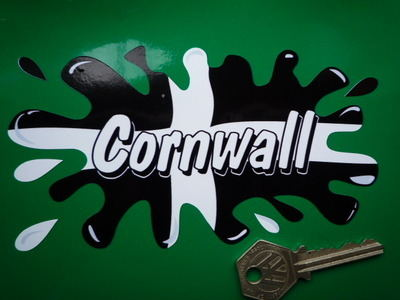 "Cornwall Cornish Text Flag Splat Style Sticker. 6""."