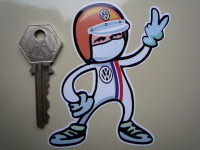 "Volkswagen VW Driver 2 Fingered Salute Sticker. 3.5""."