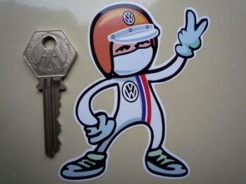 "Volkswagen VW Driver 2 Fingered Salute Sticker. 3.5""."